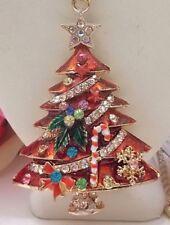 BETSEY JOHNSON BEAUTIFUL ORNATE RED CHRISTMAS TREE PENDANT CHAIN NECKLACE