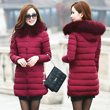 New Fashion Winter Womens Down Cotton Parka Long Fur Collar Hooded Coat Jacket D