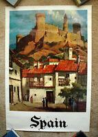 Vintage Original 1970s SPAIN Travel Poster airline railway train art tourism