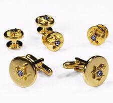 New Gold Masonic Cufflinks & Studs Master Mason Gift Box Tuxedo Men's Set SALE