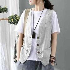 Lady Linen Check Textured Vest Tops Waistcoat Gilet V Neck Shirt Sleeveless Chic