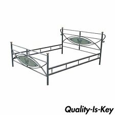 Vintage French Arts & Crafts Art Nouveau Style Forged Iron Olympic Queen Sz Bed