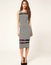 MISSGUIDED Stripe Midi Dress Zara  UK 6.US 2. EU 34 NEW!!