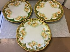 """Antique Set of 3 Elite Limoges Hand Painted Floral Plates with Gold Gilt - 8.5"""""""