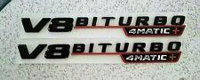 2 x 3D V8 BITURBO Badges 20.5 x 2.6cm Gloss Black Red & Chrome Benz BMW Mazda