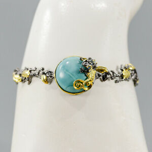 """Handmade Turquoise Bracelet 925 Sterling Silver  Inches 7""""/BR05681"""