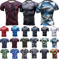Men Compression Sport Fitness Under Base Layer Short Sleeve T-Shirt Thermal Tops