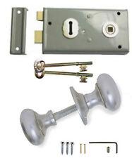 Grey Rim Sash Lock 145 x 75mm with Satin Handles Door Sashlock Knobset + 2 Keys