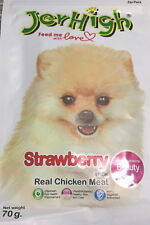 "JERHIGH NATURAL DOG TREAT CHEWY SNACK ""STRAWBERRY"" FLAVOR 100% MEAT 70g."