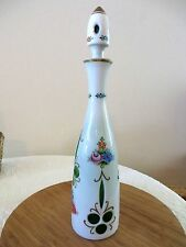 VINTAGE BOHEMIAN MOSER WHITE TO EMERALD GREEN GLASS DECANTER HAND PAINTED FLORAL