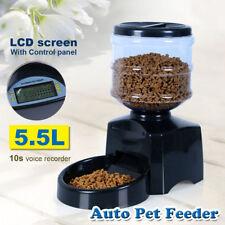 UK Automatic Program Digital Display Pet Cat Dog Feeder Food Bowl Dispense 5.5L