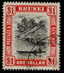 BRUNEI GVI SG90, $1 black & scarlet, FINE USED.