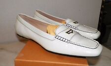 WOMEN'S TOD'S ANDIE METAL ACCS WHITE PATENT MOCCASINS FLATS NEVER WORN SZ 11