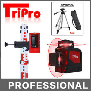 3D 360° Self Leveling Rotary Cross Laser Level Tripod Receiver Detector Staff