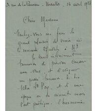 CHABAS (Maurice). Peintre symboliste. Lettre autographe, 14 avril 1938 (Réf. G 5