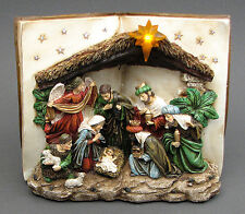 "Nativity Scene Book LED Lighted Statue Sculpture Table Figurine 9.5x8x5"""