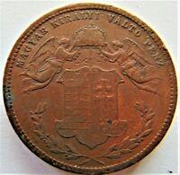 1868 KB HUNGARY, Franz Joseph I, copper 4 Krajczar  grading VERY FINE