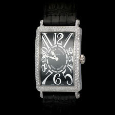 Franck Muller 18K WG Long Island 1000 Pave Diamond Bezel and Buckle. Rare Quartz