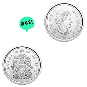 🚩Canada 2020 50 Cent Piece from Mint Roll BU UNC