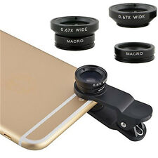 3 in1 Fish Eye + Wide Angle + Macro Lens Camera Kit For iPhone 4 5 5S 6 6 Plus