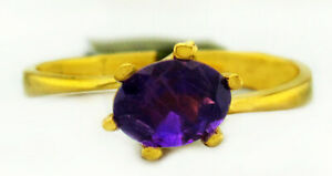 GENUINE AMETHYST SOLITAIRE RING 10K YELLOW GOLD *** New With Tag ***