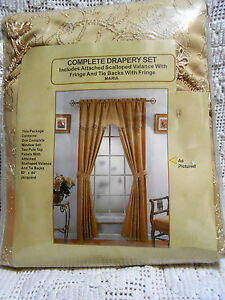 "Set of ""Maria"" Embroidered Curtains Panels with attached valance and tiebacks"