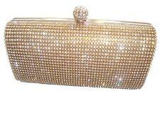 Gold Diamante Diamond Crystal Stone Evening bag Clutch Purse Party Prom Wedding