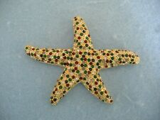 Or Pin With Red-Green-Clear Crystals Gold Toned Star Fish Brooch