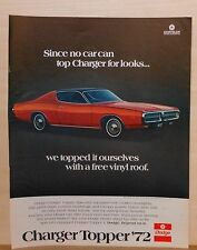 "1972 magazine ad for Dodge - red Charger Topper with ""free"" vinyl roof"