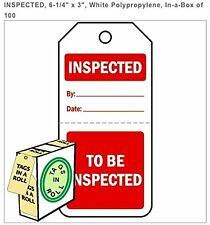 "INSPECTED/ TO BE INSPECTED, 5.75"" x 3"", White Paper,  Pack of 100 em5752cowh"