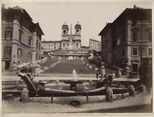 VINTAGE ALBUMEN PHOTO 1880S THE SPANISH STEPS, ROME, ITALY. MILITARY IN VIEW.