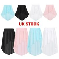 UK Girls Dance Skirt Ballet Latin Gym Chiffon Tutu Dress Kids Dancewear Costumes