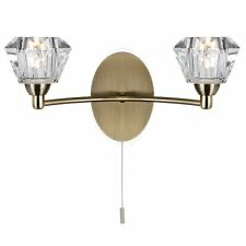 Searchlight Lighting 2632-2AB Sierra 2 Light Antique Brass and Glass Wall Light