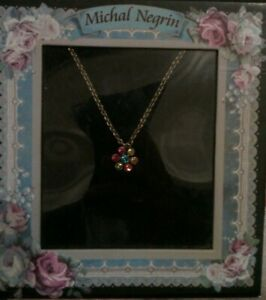 Michal Negrin delicate flower necklace Swarovski crystals