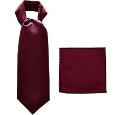 New polyester solid men's full ASCOT cravat necktie set wedding prom Eggplant
