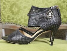 CHANEL Women's Black Golden Polka Dot Leather Ankle Pumps sz 37 C used