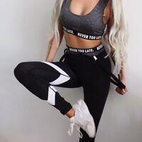 Women Leggings High-Waist Sports Yoga Fitness Running Gym Pants Stretch Trousers