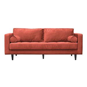 LOKI 3 Seater Rust 199cm Scandi Style Sofa COSMETIC DAMAGE CLEARANCE C233