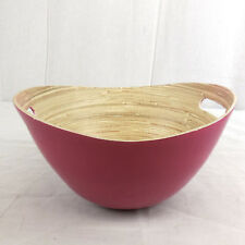 Obstkorb aus Holz pink, ca. 26,5 x 23 x 13,5 cm