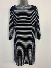 WOMENS PER UNA M&S NAVY&WHITE STRIPE 3/4 SLEEVE CASUAL JUMPER DRESS SIZE UK 14