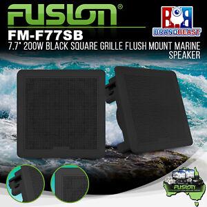 "Fusion FM-F77SB 7.7"" 200W Black Square Grille Flush Mount Marine Speakers"
