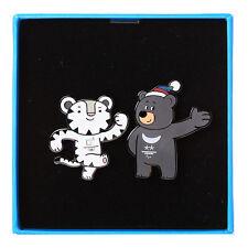 2018 Korea Pyeongchang Winter Olympics Official Mascot Badge x 2ea With Box