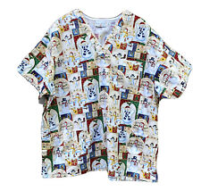 Scrub Top 3X Snowman Christmas Holiday Patchwork Look Peaches Plus Size No Tag