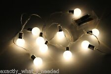 10 White LED Retro Bulb String Lights Wedding Party Home Decor Fairy Light Bulbs
