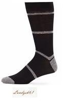 Saks Fifth Avenue Cotton Men's Italy Black Gray Stripes Soft Socks Sz 10-13