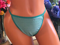 VICTORIA'S SECRET 8/XL Green Sparkle Hi Cut Cheeky String Bikini Panties NWT