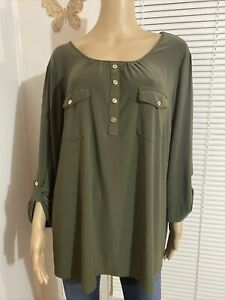 PERSEPTION Women's Blouse Size 2X Military Green Roll tab Sleeve Pockets Front