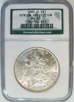 1885 O Silver Morgan Dollar NGC MS 63 Binion Hoard Casino Collection Nevada Coin