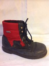 Girls Richter Black&Red Leather Boots Size 30