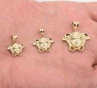 Medusa Diamond Cut Charm Pendant Real SOLID 10K Yellow Gold ALL SIZES